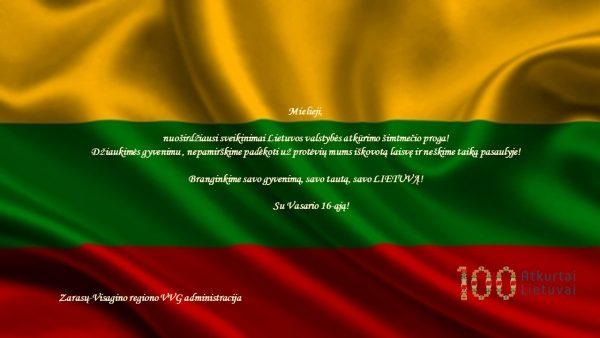 Su Lietuvos valstybės atkūrimo 100-mečiu!